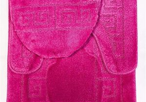 "Cheap 3 Piece Bathroom Rug Sets 3 Piece Bath Rug Set Pattern Bathroom Rug 20""x32"" Contour Mat 20""x20"" with Lid Cover Hot Pink"