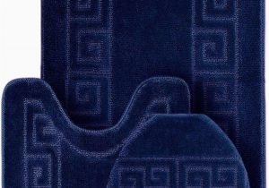 """Cheap 3 Piece Bathroom Rug Sets Wpm World Products Mart Bathroom Rugs Set 3 Piece Bath Pattern Rug 20""""x32"""" Contour Mats 20""""x20"""" with Lid Cover Navy"""