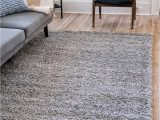 Cheap 5 by 7 area Rugs Unique Loom solo solid Shag Collection Modern Plush Cloud Gray area Rug 5 0 X 8 0