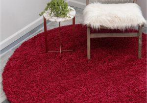Cherry Red Bathroom Rugs 6 X 6 solid Shag Round Rug