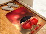 Cherry Red Bathroom Rugs Cartoon Heart Printed Floor Mat