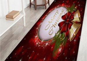 Cherry Red Bathroom Rugs Christmas Bells Printed Fleece Nonslip Bath Rug