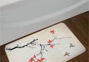 Cherry Red Bathroom Rugs Japanese Cherry Blossom Bath Rug