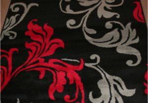 Cherry Red Bathroom Rugs Red Grey & Black Floral Rug