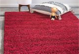 Cherry Red Bathroom Rugs Unique Loom solo solid Shag Collection Modern Plush Cherry Red area Rug 4 0 X 6 0