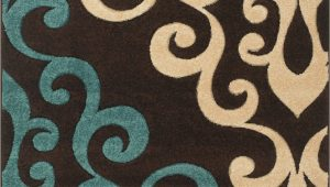 Chocolate Brown and Turquoise area Rugs Rug Modern Damask Brown Teal Blue Cream 160x230cm