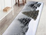 Christmas Bath Rugs Accessories Flannel Skidproof Christmas Snowscape Print Bath Mat