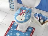 Christmas Bath Rugs Accessories soft toilet Seat Cover and Rug Set Bathroom Christmas
