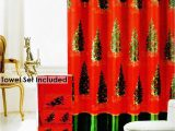 Christmas Bathroom Rugs and towels Christmas Tree 18 Pieces Rug Bath Set with Hooks Red Green