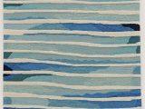 Citium Blue area Rug Jago Striped Handmade Tufted Ivory Blue area Rug