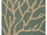"""Coastal Indoor Outdoor area Rugs Coral Indoor Outdoor Abstract Teal Tan area Rug 8 10""""x11"""