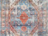 Contemporary area Rugs orange and Blue Nuloom Farley Medallion Fringe Blue area Rug
