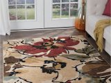 Contemporary Multi Color area Rugs Beige Contemporary Tropical Floral area Rug Multi Color Leaves Modern Carpet