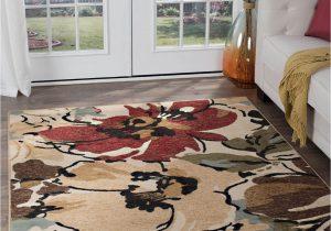 Contemporary Multi Color area Rugs Beige Contemporary Tropical Floral area Rug Multi Color Leaves Modern Carpet