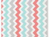 Coral and Grey area Rug Cafepress Coral Aqua Grey Chevron Pattern 3 X5 Decorative area Rug Fabric Throw Rug