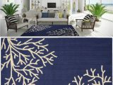 Coral and Navy area Rug area Rug Carpet Coastal Beach Tropical Ocean Sea Coral Navy Blue Ivory 5 X 7