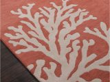 Coral and Navy area Rug Coastal Seaside Coral Rug Apricot