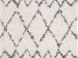"""Cream Color Shag area Rug Plx434a Color Cream Blue Size 6 7"""" Square"""