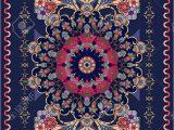 Dark Blue Persian Rug ornamental Dark Blue Rug with Beautiful Rosette and Floral Pattern