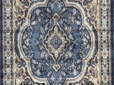 Dark Blue Persian Rug Traditional oriental Persian Rug Light Blue Brown & Beige Design 520 4 Feet X 5 Feet 9 Inch