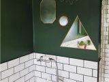 Dark forest Green Bathroom Rugs Gold Mirror Feature On forest Green Bathroom Wall