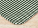 """Dark forest Green Bathroom Rugs Small Dark forest Green and White Gingham Check"""" Bath Mat by"""