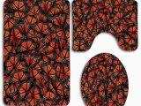 Dark orange Bathroom Rugs Gohao orange Black butterfly 3 Piece Bathroom Rugs Set