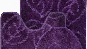 Dark Purple Bath Rugs Everdayspecial Purple Bath Set Leaf Pattern Bathroom Rug