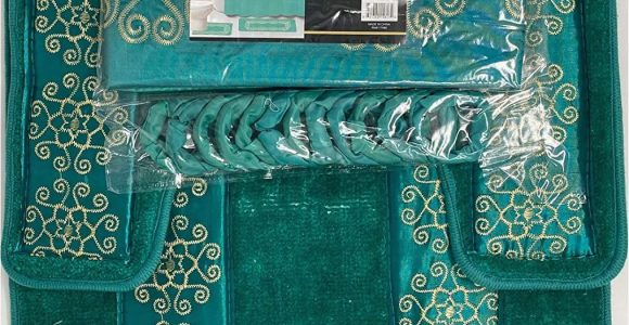 Dark Teal Bathroom Rug Sets 4 Piece Bathroom Rugs Set Non Slip Teal Gold Bath Rug toilet Contour Mat with Fabric Shower Curtain and Matching Rings Florida Teal