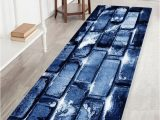Deep Blue area Rug Brick Wall Pattern Water Absorbing area Rug
