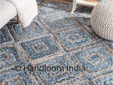 Denim and Jute area Rug Braided Denim Jute Mix solid area Carpet for Living Room