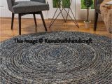 Denim and Jute area Rug Round Denim Rug Hand Braided Denim Jute Rug Natural Jute