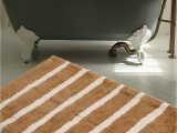 Designer Bathroom Rugs and Mats Warisi Bold Stripes Collection Designer Plush Microfiber Bath Rug Beige Ivory