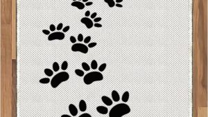 Dog Paw Print area Rugs Amazon Lunarable Animal area Rug Monochrome Paw Print