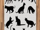 Dog Paw Print area Rugs Buy Ambesonne Cat area Rug Silhouette Of Kittens In Various