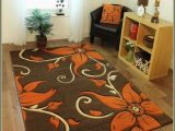 Dog Paw Print area Rugs Very Nice Floral Brown area Rug with orange Flowers
