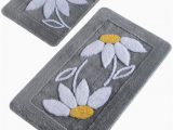 Eco Friendly Bath Rugs High Pile soft Bathroom Rug Hand Thufted Daisy Antibacterial Bath Rug Eco Friendly Gift for Her 4 Diff Pcs Of Set and 4 Diff Colors