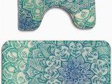 Emerald Green Bathroom Rug Set Amazon Mahenshangm Emerald Doodle Flowers 2 Piece
