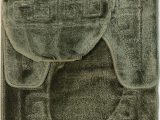 "Extra Large Contour Bath Rug 3 Piece Bath Rug Set Pattern Bathroom Rug 20""x32"" Contour Mat 20""x20"" with Lid Cover Sage"