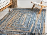 Extra Large Rustic area Rugs Hand Braided Denim Jute area Rugs for Living Room 6 X 8 Feet