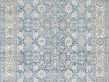 Faded Blue area Rug Silver ash Gray Ivory Ocean Blue Faded oriental Distressed area Rug