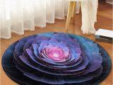 Flower Shaped Bathroom Rugs 3d Flower Printed Round Fleece Floor Mat
