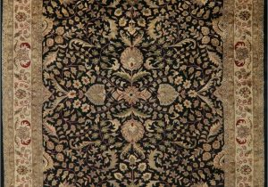 French Country Wool area Rugs assorted Allover Floral Black Beige Agra oriental area Rug Hand Tufted Wool 9×12