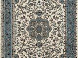 Glow In the Dark area Rugs Art Carpet Kensington Collection Center Glow Border Woven area Rug 8 X 11 Cream Aqua
