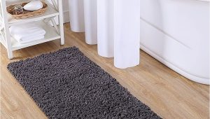"Gold Coast Microfiber Bath Rug Vcny Home Paper Shag Bathroom Rug 24"" X 60"" Gray"