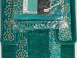 Gold Color Bath Rugs 4 Piece Bathroom Rugs Set Non Slip Teal Gold Bath Rug toilet Contour Mat with Fabric Shower Curtain and Matching Rings Florida Teal