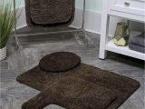 Gorilla Grip original Luxury Chenille Bathroom Rug Mat Maples Rugs softec Non Slip Washable & Quick Dry Contour toilet Rugs [made In Usa] U Shaped Dark Brown