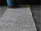 Gray and Blue Runner Rug Geometric Navy Blue Leather Rug Mad About the House