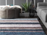 Gray and White Striped area Rug Premium Handmade Striped Blue Gray Plush Shag area Rugs