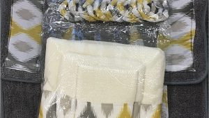 Gray and Yellow Bathroom Rug Sets 18 Piece Bath Rug Silver Grey Gold Print Bathroom Rugs Shower Curtain Rings and towels Sets Keena Yellow